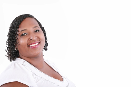 obesity: close up of plus size black model smiling, copyspace on white