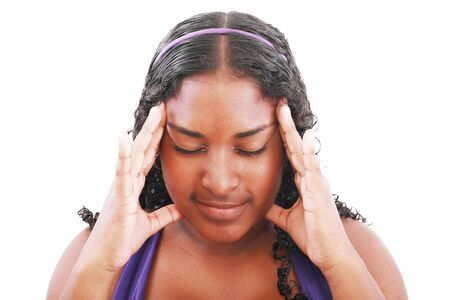 Isolated portrait of worried teenage girl with headache   photo