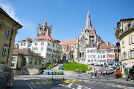 The historic center of Laussane, in Switzerland   Stock Photo
