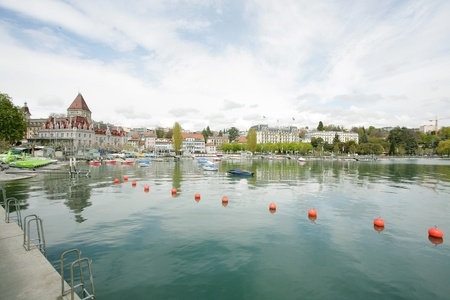 Ouchy port and Chateau, Lausanne, Switzerland  photo