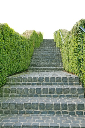 city alley: A long stone staircase isolated over a white background