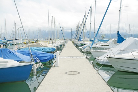 dinghies: yachts and boats in the harbor in Ouchy, Switzerland