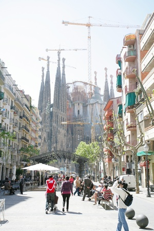 uncomplete: BARCELONA - ABRIL 21: La Sagrada Familia - the impressive cathedral designed by Gaudi, which is being build since 19 March 1882 and is not finished yet Abril 21, 2012 in Barcelona, Spain.  Editorial