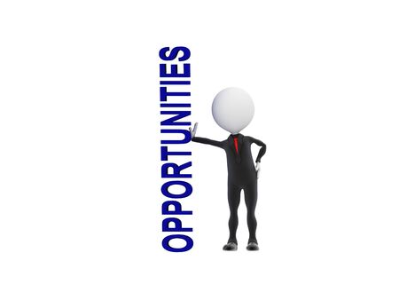 3D businessman touching the word opportunities Stock Photo - 14127669