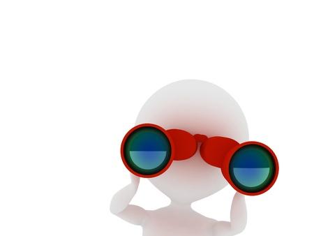 観察: 双眼鏡 3 d レンダリングされたイラストを通して見る男