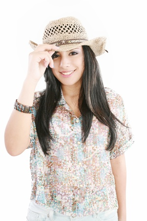 Beautiful woman with cowboy hat  photo