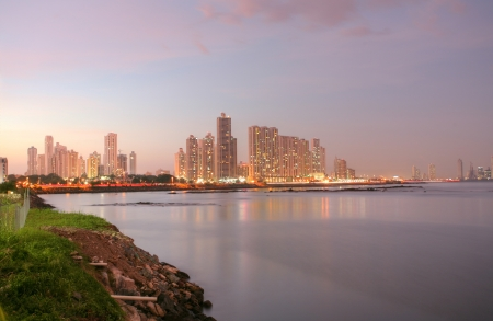 Shoreline of Panama City Beach at sunset  Stock Photo