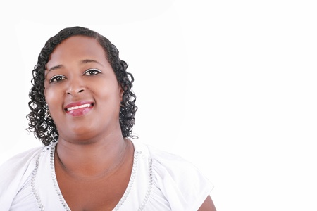 Close up happy and confident obese black woman smiling photo