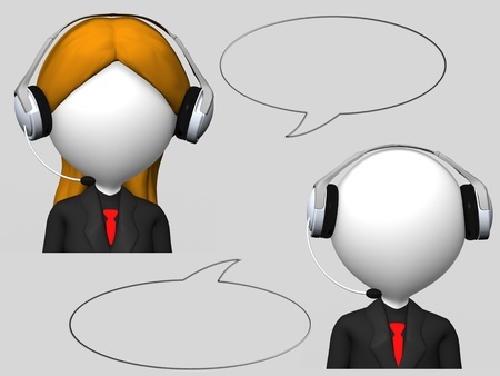 customer service operator with headset and speech bubbles  photo