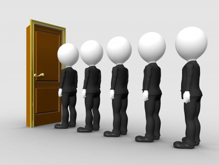 knocking: 3d people in line waiting for job interview
