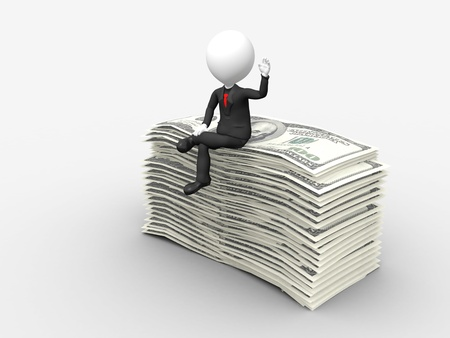 3d businessman sitting on top of stack of dollar with hand raise photo