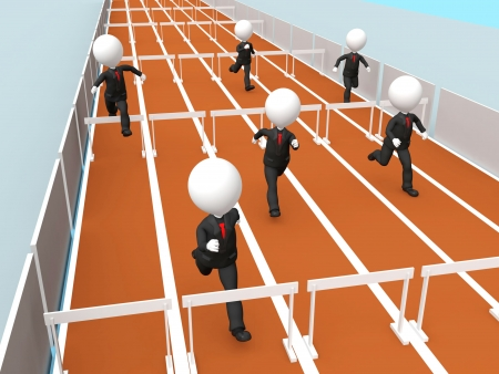 3D business men racing photo