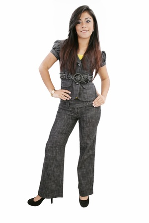 Full length of beautiful business woman over white background photo
