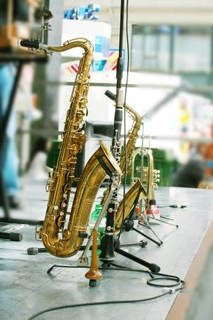 alto: golden saxophone alto on stage  Stock Photo