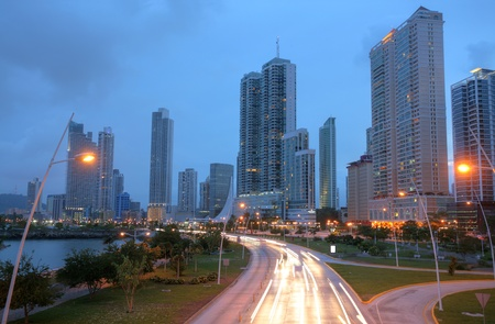 coche: Stunning view of Panama City by the sunset. Stock Photo