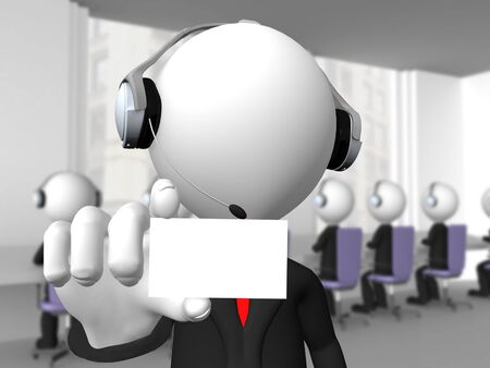 Call center operator with headphones and microphone showing a blank card  photo