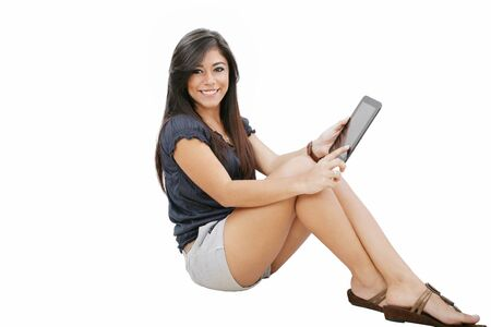 scholar: picture of happy woman with tablet pc computer