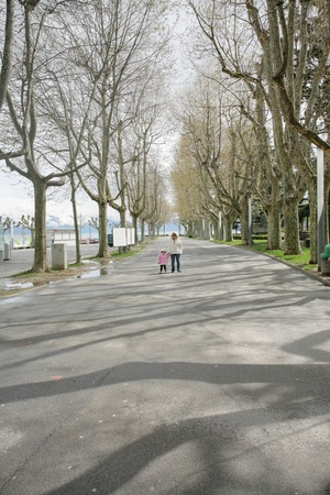 mother holds hand of little daughter walking in a beautiful road of trees photo