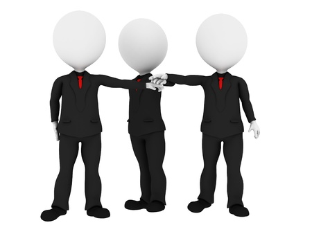 partnership power: 3d rendered business people in uniform putting hands together all for one - Business team union concept - Image on white background with soft shadows