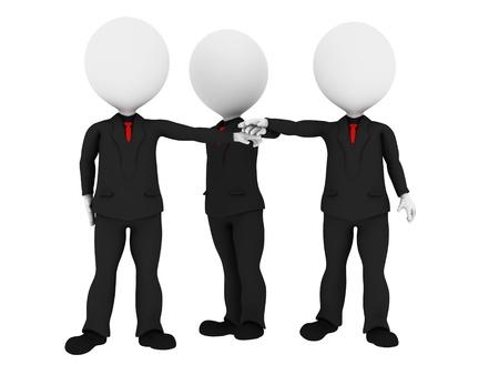 la union hace la fuerza: 3d rindió la gente de negocios en uniforme de poner las manos juntas todo para uno - Equipo de negocios concepto de la unión - Imagen sobre fondo blanco con sombras suaves Foto de archivo
