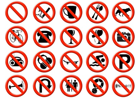 prohibitions: illustration of a signs showing a list of prohibitions