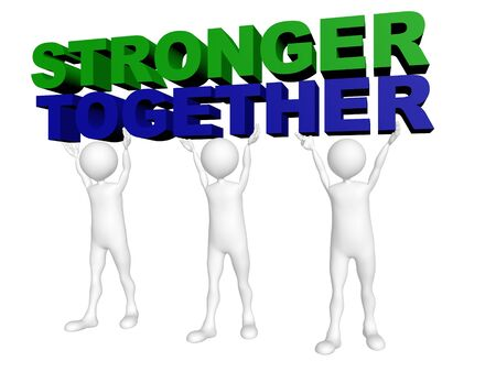 Three men join forces to lift the words Stronger Together Stock Photo - 14717480