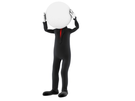 3d small person holding his head with his hands. 3d image. Isolated white background.  photo