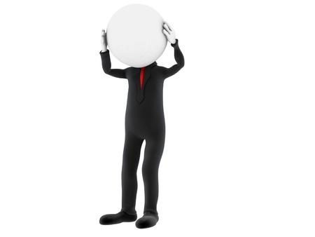 persona deprimida: Persona 3d pequeña sosteniendo su cabeza con las manos. Imagen en 3D. Aislado fondo blanco. Foto de archivo