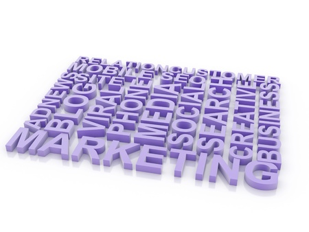 carrer: What is a Marketing. The concept of the words on white isolated background. 3d