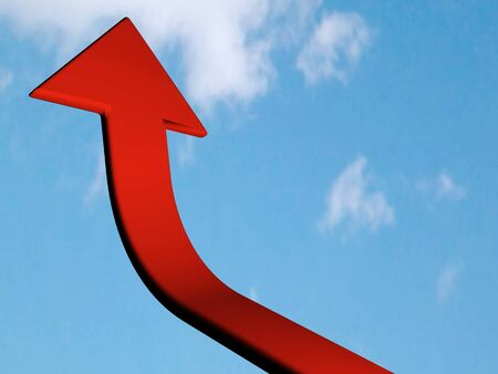 Red arrow - aspire to sky - with clipping path Stock Photo - 14842182