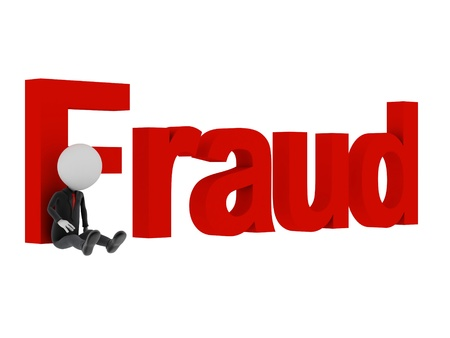 3d man tied with text fraud after committing crime.  Stock Photo
