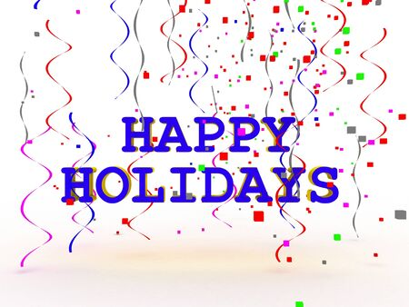 A colorful Happy Holidays sign over white background  photo