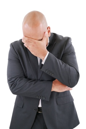 Portrait of a young business man looking depressed from work isolated over white background Stock Photo - 15199754