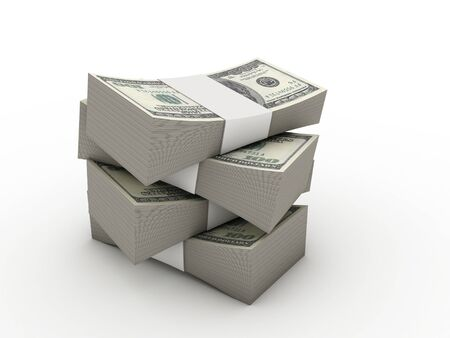 wads of dollars. 3d image. Isolated white background.  photo