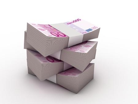 billets euros: paquet de billets de 500 euros avec emballage banque