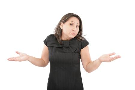 persona confundida: Primer plano de mujer de negocios que no tienen idea sobre un fondo blanco