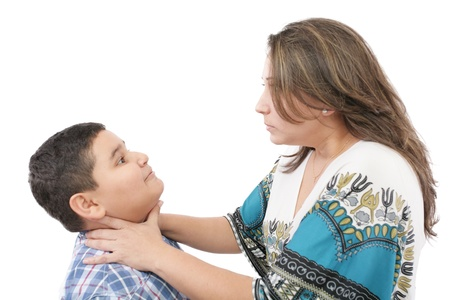 scolding: family quarrel, mother and son  Stock Photo