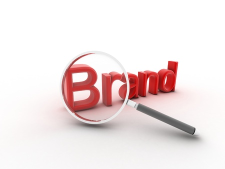 Het woord Brand onder een vergrootglas ter illustratie van marketing en reclame op de loyaliteit van klanten en reputatie op te bouwen