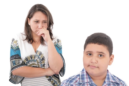 Problems between mother and her son. Family Problems. Focus on the woman Stock Photo