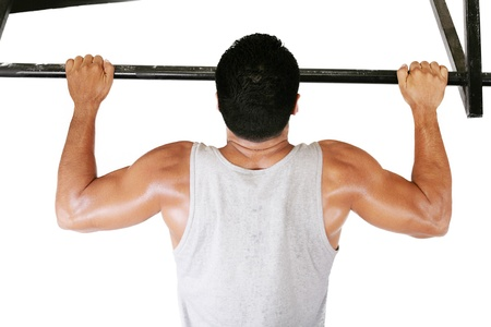 very power athletic guy, execute exercise tightening on horizontal bar, isolated on white photo