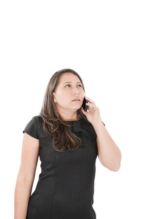 disquieted: Woman employee speaking mobile phone