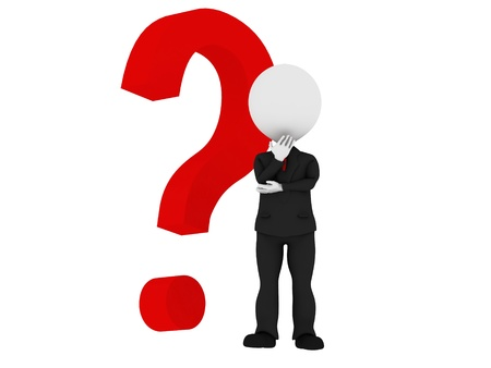 interrogativa: Humano 3d con un signo de interrogaci�n rojo