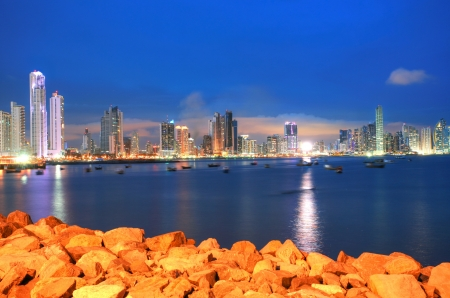 Panama City, city center skyline and Bay of Panama, Panama, Central America in the sunset