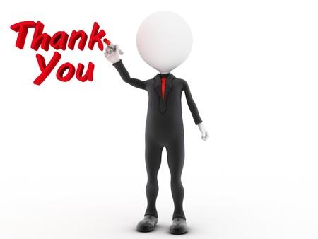 dank u: Een persoon trekt de woorden Thank You Stockfoto