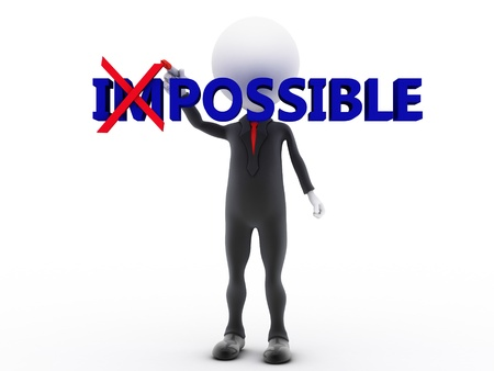 think positive: Businessman turning the word impossible into possible on white background