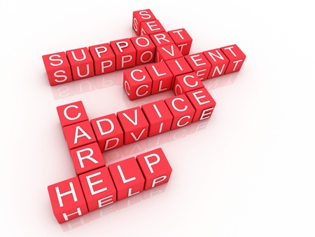 Customer support crossword on white background, 3D rendered illustration  Stock Photo