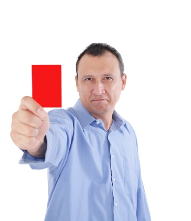 detective agency: Young businessman is showing a red card