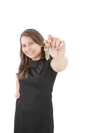 accommodation broker: Realtor is giving the keys to an apartment to some clients, focus on the keys