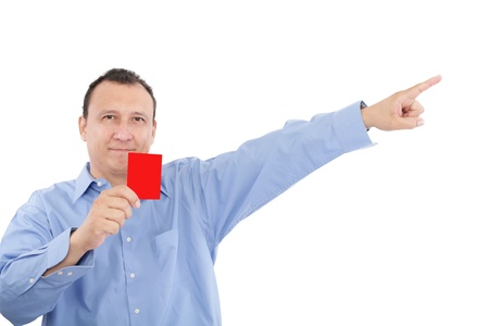 freigestellt: man shows someone a red card. All isolated on white background