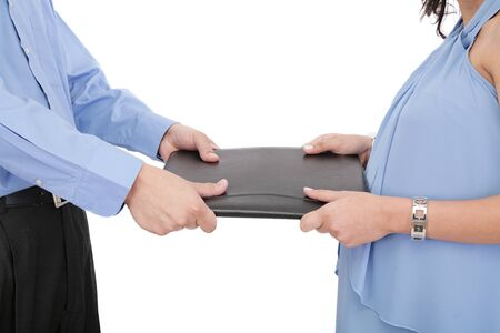 picture of two angry business person fighting for contract  photo